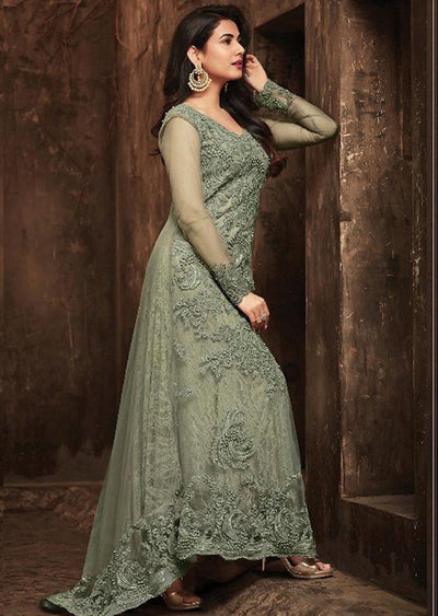 5703 - Unstitched - Mint - Maisha Maskeen Inspired Gown - Indian Ethnic Indo Western Style Dress - Memsaab Online