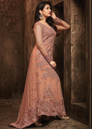 Unstitched - Peach - Maisha Maskeen Inspired Gown - Indian Ethnic Indo Western Style Dress - Memsaab Online