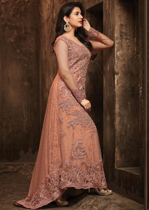 5703 - Unstitched - Peach - Maisha Maskeen Inspired Gown - Indian Ethnic Indo Western Style Dress - Memsaab Online