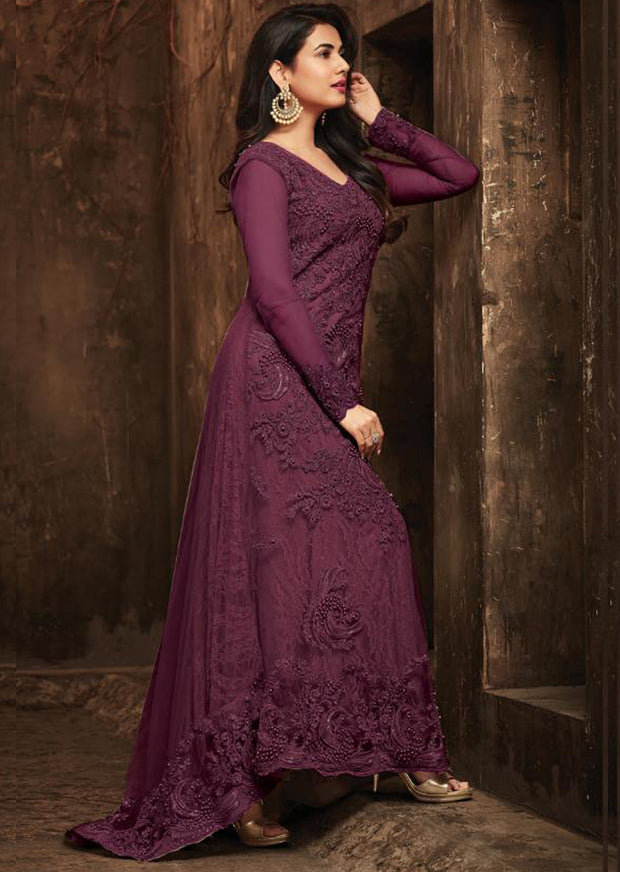 Unstitched - Purple - Maisha Maskeen Inspired Gown - Indian Ethnic Indo Western Style Dress - Memsaab Online