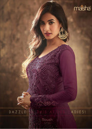 5703 - Unstitched - Purple - Maisha Maskeen Inspired Gown - Indian Ethnic Indo Western Style Dress - Memsaab Online
