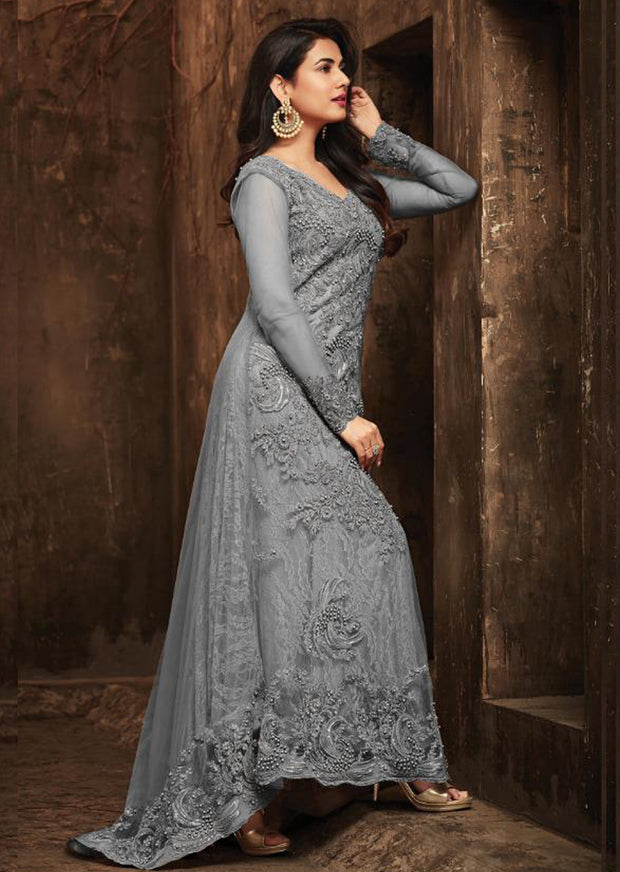 5703 Unstitched Grey Maisha Maskeen Inspired Gown Indian Ethnic Indo Western Style Dress