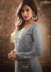 5703 - Unstitched - Grey - Maisha Maskeen Inspired Gown - Indian Ethnic Indo Western Style Dress - Memsaab Online