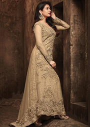 5703 - Unstitched - Gold - Maisha Maskeen Inspired Gown - Indian Ethnic Indo Western Style Dress - Memsaab Online