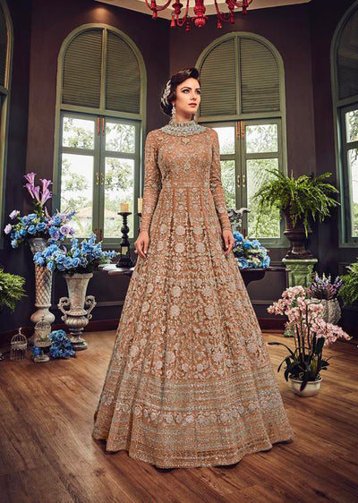 5810 Gold Violet Gown Embroidered Dress Indian fashion UK - Memsaab Online