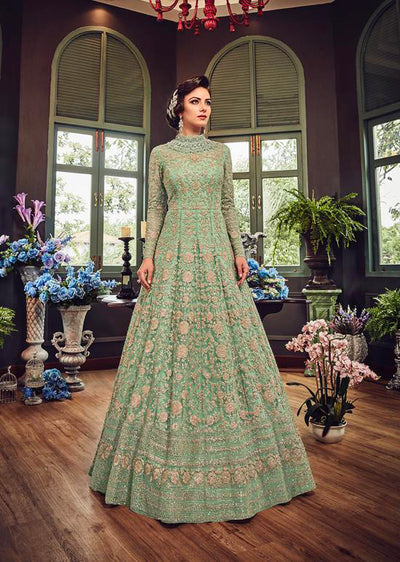 5810 Mint Violet Gown Embroidered Dress Indian fashion UK - Memsaab Online