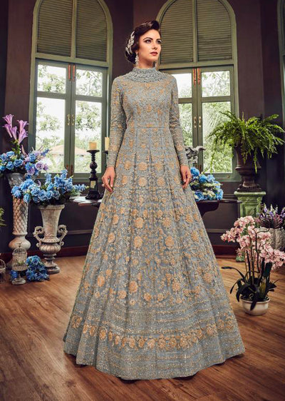 5810 Grey Violet Gown Embroidered Dress Indian fashion UK - Memsaab Online
