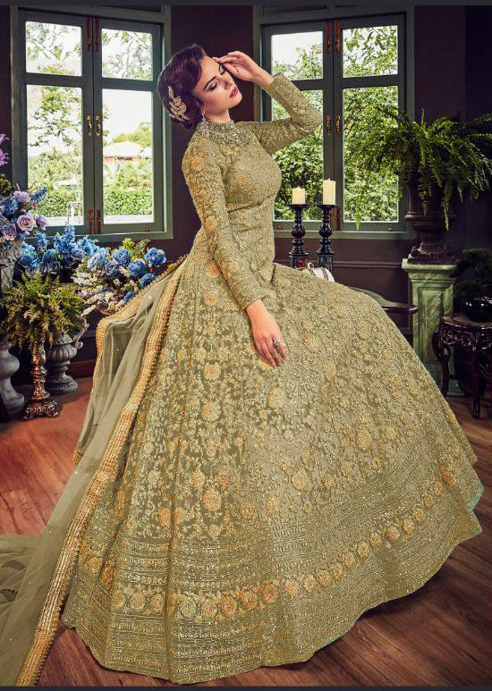 5810 Green Violet Gown Embroidered Dress Indian fashion UK - Memsaab Online