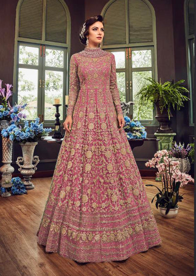 5810 Pink Violet Gown Embroidered Dress Indian fashion UK - Memsaab Online