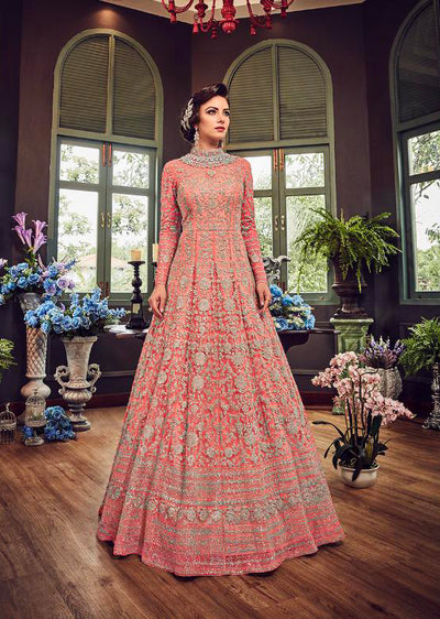 5810 Peach Violet Gown Embroidered Dress Indian fashion UK - Memsaab Online
