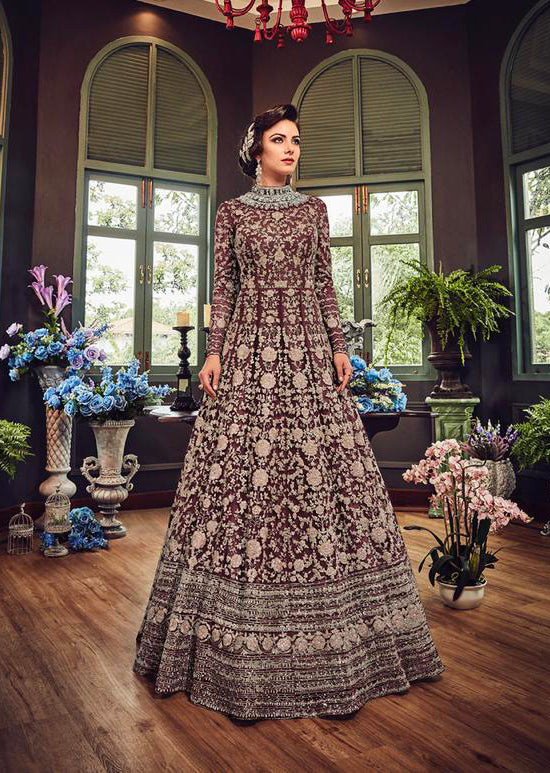 5810 Plum Violet Gown Embroidered Dress Indian fashion UK - Memsaab Online