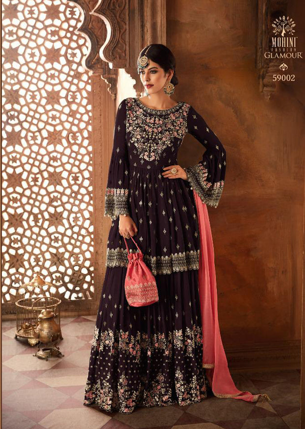 Dark Purple - Mohini Inspired Long Dress - Unstitched Partywear Design - Memsaab Online