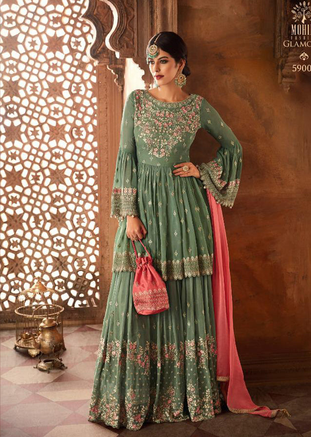 Green - Mohini Inspired Long Dress - Unstitched Partywear Design - Memsaab Online