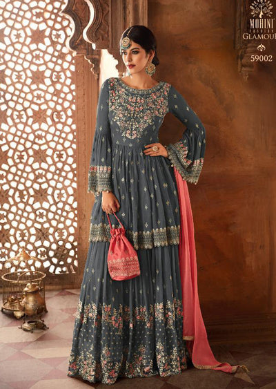 Grey - Mohini Inspired Long Dress - Unstitched Partywear Design - Memsaab Online