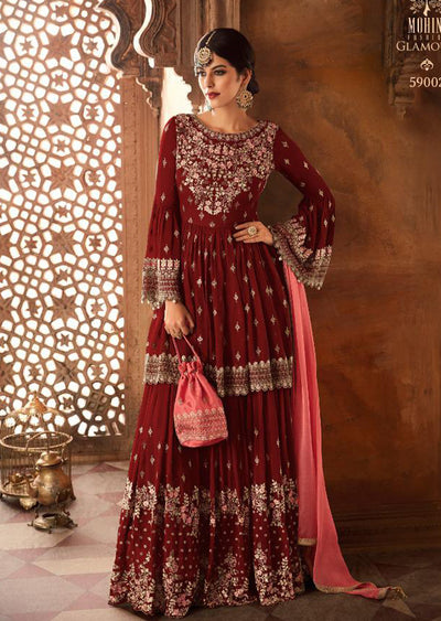 Red - Mohini Inspired Long Dress - Unstitched Partywear Design - Memsaab Online