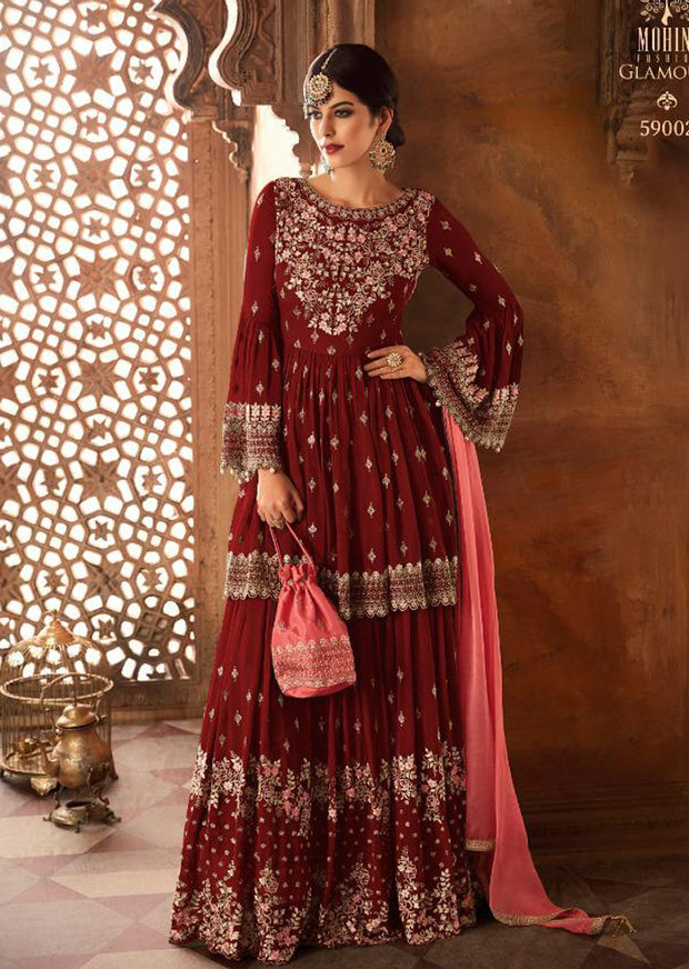 59002 - Red - Mohini Inspired Long Dress - Unstitched Partywear Design - Memsaab Online