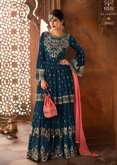 59002 - Teal - Mohini Inspired Long Dress - Unstitched Partywear Design - Memsaab Online
