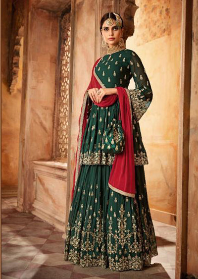 59005 - Green - Unstitched Mohini Inspired Peplum Partywear Dress - Memsaab Online