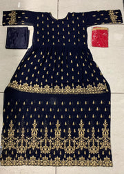 59005 - Navy - Unstitched Mohini Inspired Peplum Partywear Dress - Memsaab Online