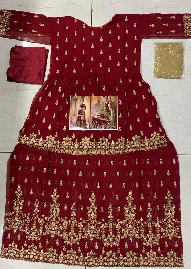 Red - Unstitched Mohini Inspired Peplum Partywear Dress - Memsaab Online