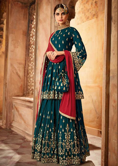 Teal - Unstitched Mohini Inspired Peplum Partywear Dress - Memsaab Online
