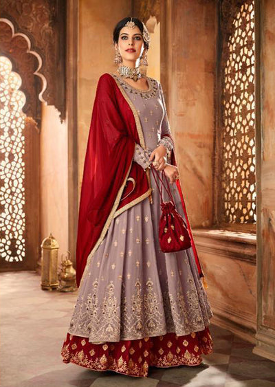 Mauve - Unstitched Mohini Inspired Long Partywear Dress - Memsaab Online