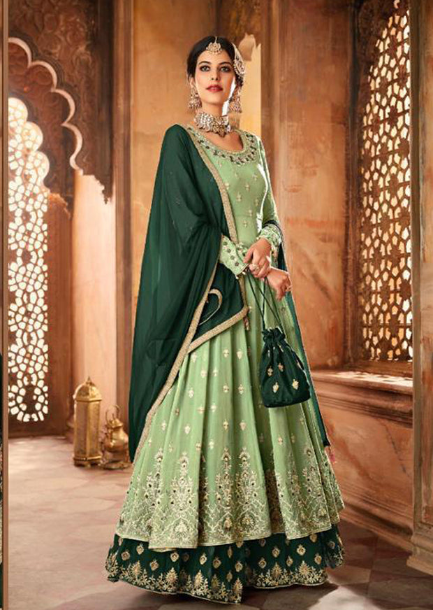 59006 - Mint - Unstitched Mohini Inspired Long Partywear Dress - Memsaab Online