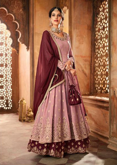 59006 - Pink - Unstitched Mohini Inspired Long Partywear Dress - Memsaab Online