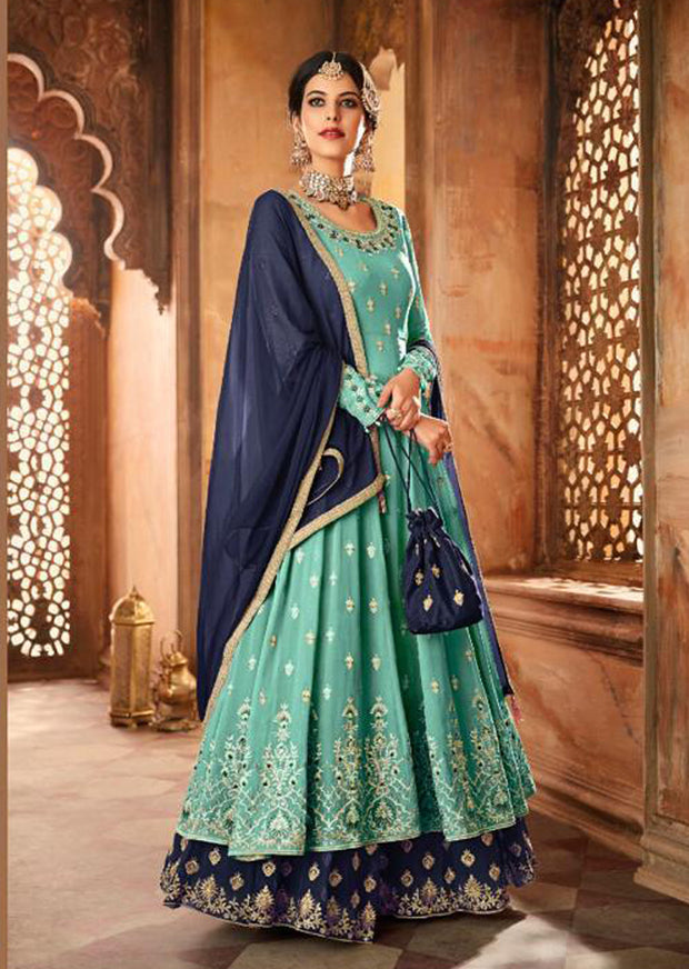 59006 - Turquoise - Unstitched Mohini Inspired Long Partywear Dress - Memsaab Online