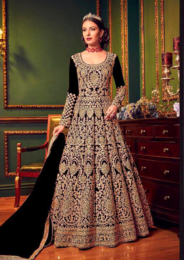 5902 Violet Replica - Black - Anarkali heavy Party wear Embroidered dress UK - Memsaab Online