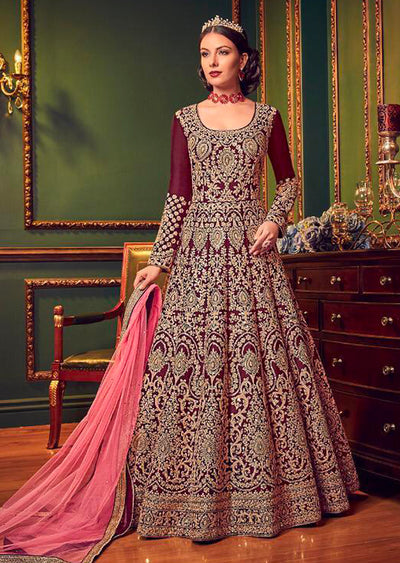 5902 Violet Replica - Maroon - Anarkali heavy Party wear Embroidered dress UK - Memsaab Online
