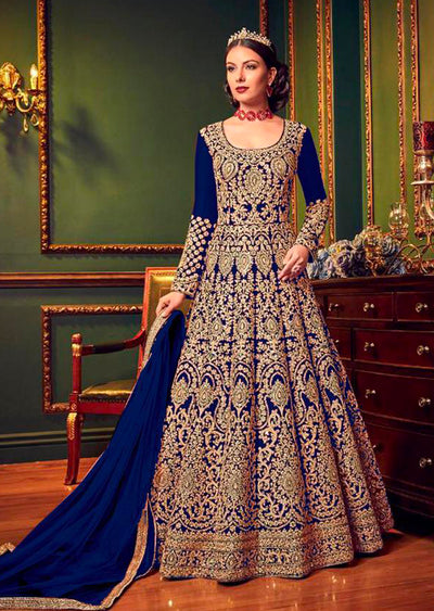 5902 Violet Replica - Blue - Anarkali heavy Party wear Embroidered dress UK - Memsaab Online