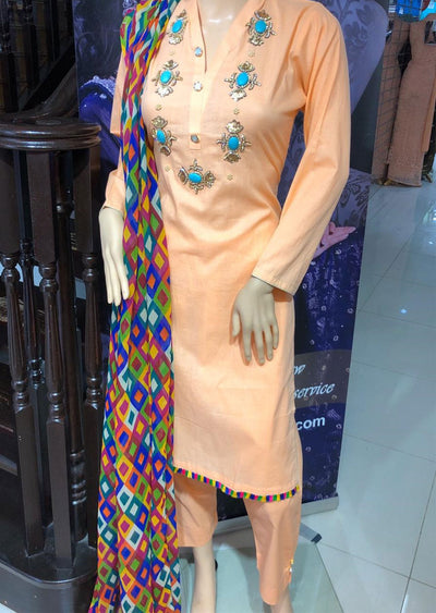 SD01 Peach Readymade Lawn Suit with Handwork - Memsaab Online