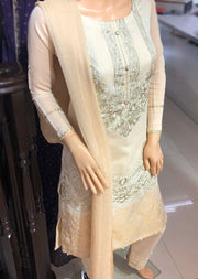 SD14 Readymade Gold Embroidered Cotton Suit - Memsaab Online