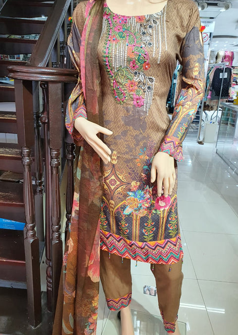 SM605 Simrans Readymade Linen Embroidered Suit - Memsaab Online
