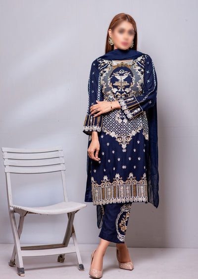 HK30 Readymade Navy Embroidered Linen Suit - Memsaab Online