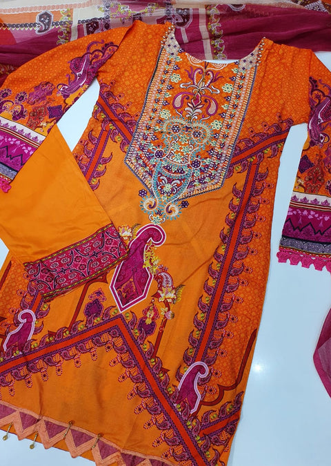 FHD04R Readymade Iznik Inspired Linen Embroidered Suit - Memsaab Online