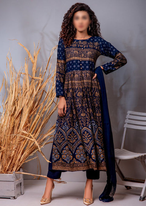 HK03 Readymade Blue Pleated Long Linen Suit - Memsaab Online