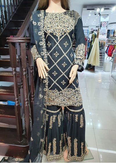 1468 Readymade Black Shararah Suit - Memsaab Online