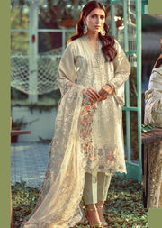 05 Unstitched Elaf Inspired Chickenkari Linen Suit with woolen shawl - Memsaab Online