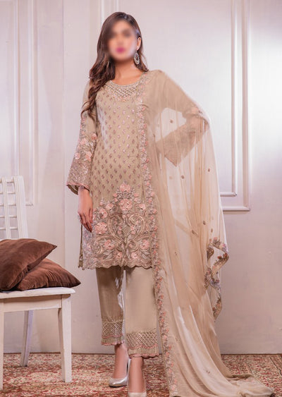 0372 Readymade Beige Chiffon Embroidered Suit