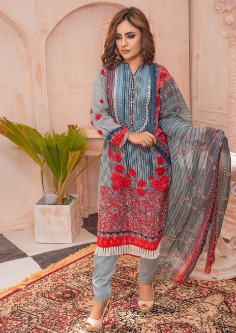 AMT21001 - Grey Readymade Premium Embroidered Lawn Suit - Memsaab Online