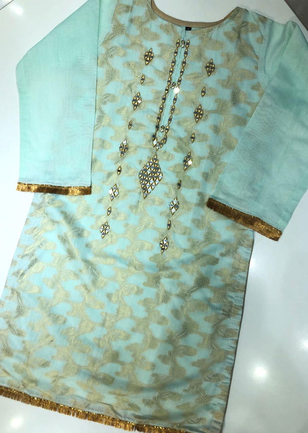 BJ703 Beejays Aqua Mirror work Jammawar Cotton Suit - Memsaab Online