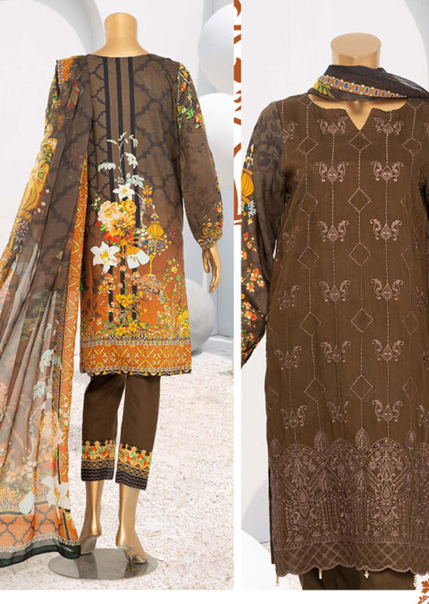 D-05 Unstitched - Royal - Steple Suit by Javed Arts - Memsaab Online