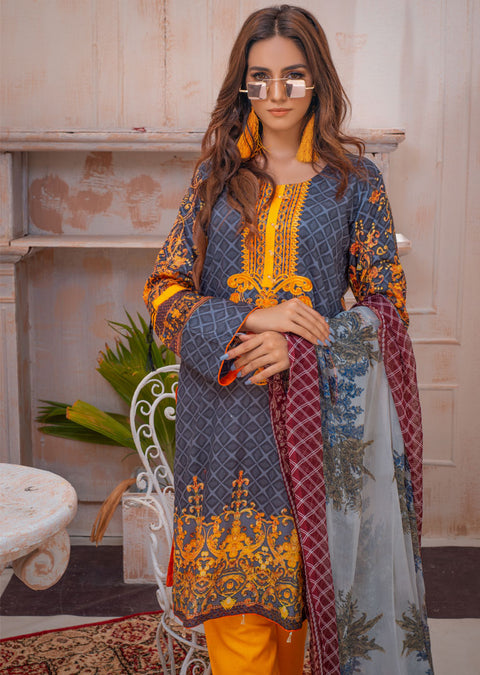 AMT20001 - Readymade Grey Embroidered Lawn Suit - Memsaab Online