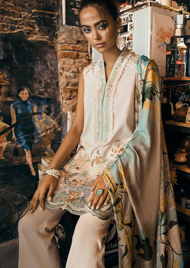 05 Aqua Gardenia - Epoque Suffuse by Sana Yasir Lawn 2019 - Embroidered Pakistani designerwear UK Delivery - Memsaab Online