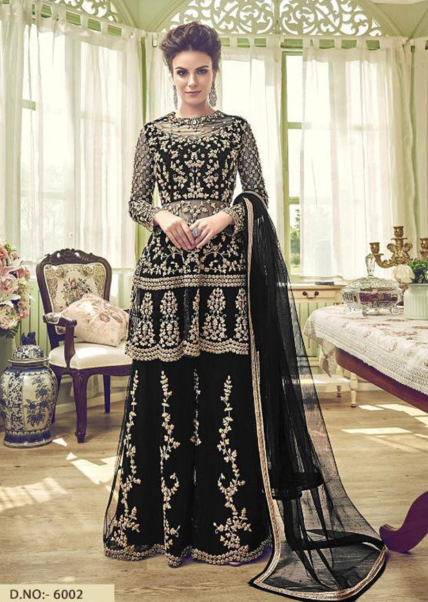 6002 - Unstitched - Black - Violet Inspired Gharara Sharara Suit - Indian heavily embroidered Unique ethnic traditional dress - Memsaab Online