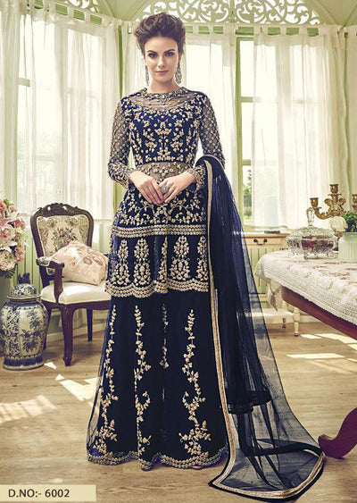 6002 - Unstitched - Blue - Violet Inspired Gharara Sharara Suit - Indian heavily embroidered Unique ethnic traditional dress - Memsaab Online