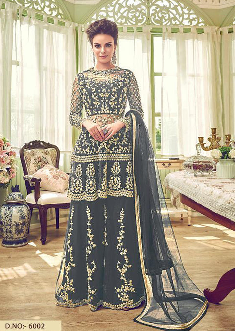 6002 - Unstitched - Grey - Violet Inspired Gharara Sharara Suit - Indian heavily embroidered Unique ethnic traditional dress - Memsaab Online