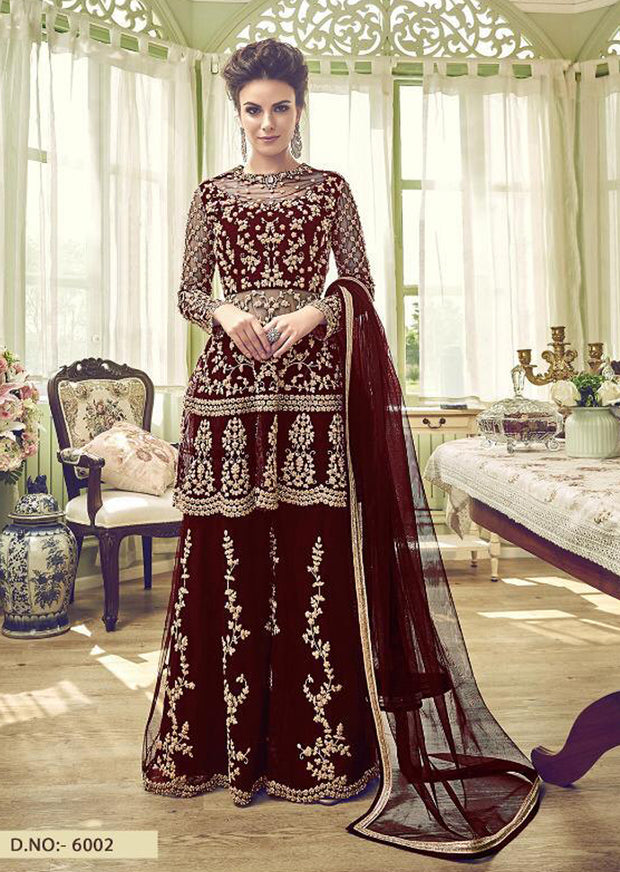 6002 - Unstitched - Maroon - Violet Inspired Gharara Sharara Suit - Indian heavily embroidered Unique ethnic traditional dress - Memsaab Online